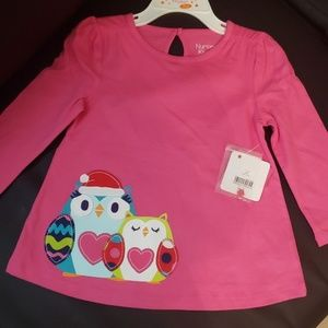 Christmas top with adorable owl applicae